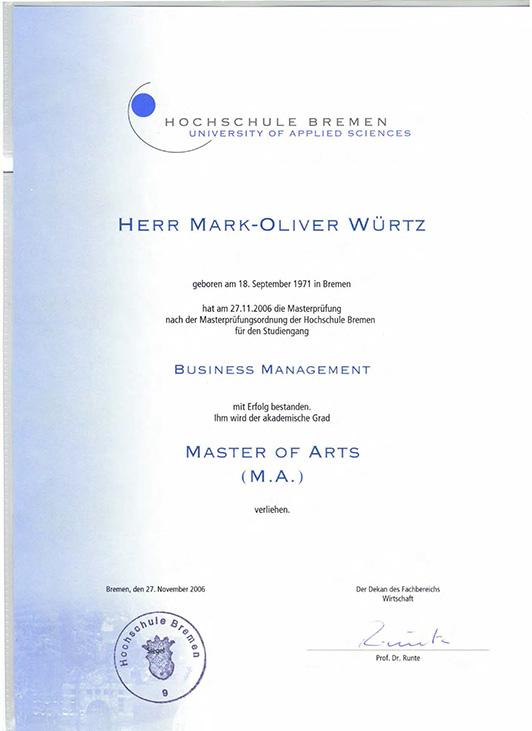 bilder zu mark oliver wrtz qualifikationen - Hochschule Bremen Bewerbung